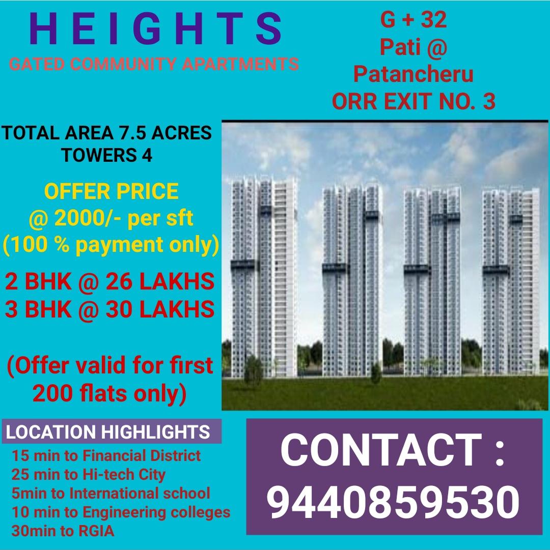 2bhk, 3bhk Flats For Sale Patancheru – Orr Exit No. 3